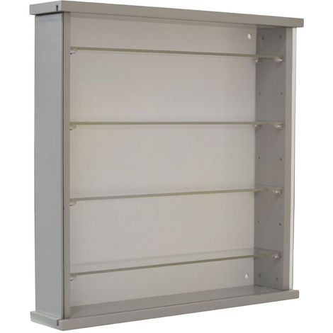Wood Wall Display Cabinet with 4 Adjustable Glass Shelves - Grey