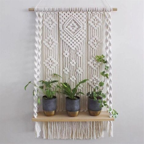 Wood Wall Hanging Rope Shelf Plant Rack Macrame Tapestry Stand Home Decoration
