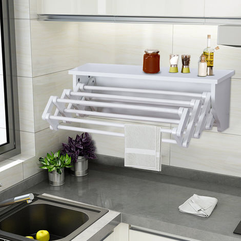 Wood Wall Mount Towel Hanging Laundry Rack Folding Scalable Clothes Dry Shelf