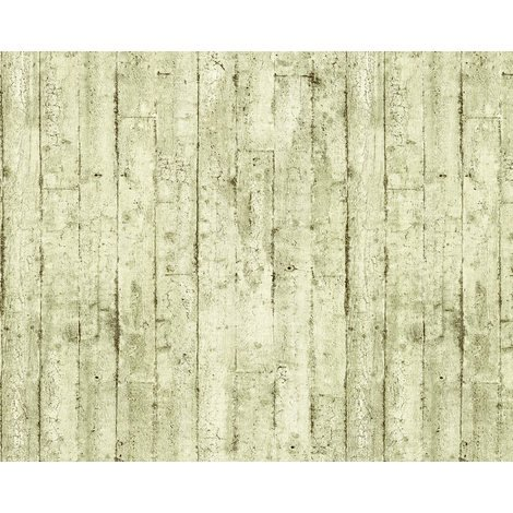 Wood wallpaper wall EDEM 81108BR03 hot embossed non-woven wallpaper slightly textured beautiful shabby chic style matt olive cream brown 10.65 m2 (114 ft2)