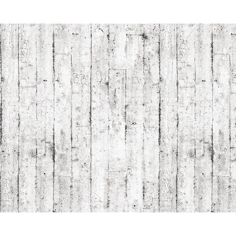 Wood wallpaper wall EDEM 81108BR05 hot embossed non-woven wallpaper slightly textured beautiful shabby chic style matt white grey brown 10.65 m2 (114 ft2)