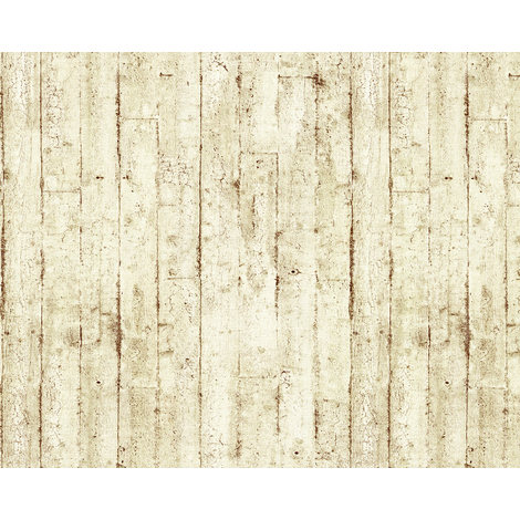 Wood wallpaper wall EDEM 81108BR07 hot embossed non-woven wallpaper slightly textured beautiful shabby chic style matt cream beige brown 10.65 m2 (114 ft2)