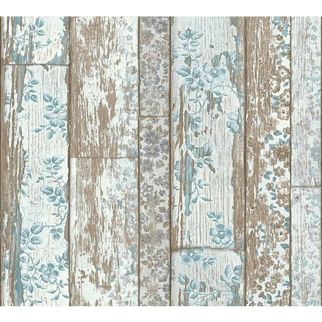 Wood wallpaper wall Profhome 361191-GU non-woven wallpaper smooth with floral ornaments matt blue brown 5.33 m2 (57 ft2)