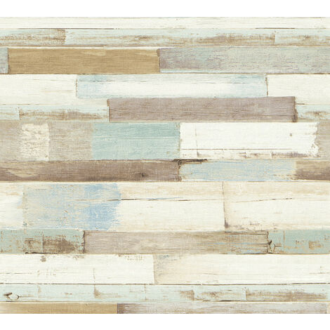 Wood wallpaper wall Profhome 368571-GU non-woven wallpaper smooth country style matt blue white 5.33 m2 (57 ft2)