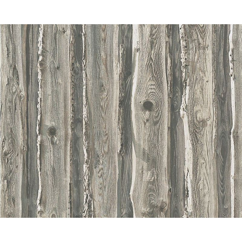 Image of A.s.creation - Wood Wallpaper Wooden Effect Grain Panel Distressed Realistic Grey Beige