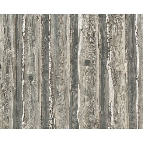 Wood Wallpaper Wooden Effect Grain Panel Distressed Realistic Grey Beige
