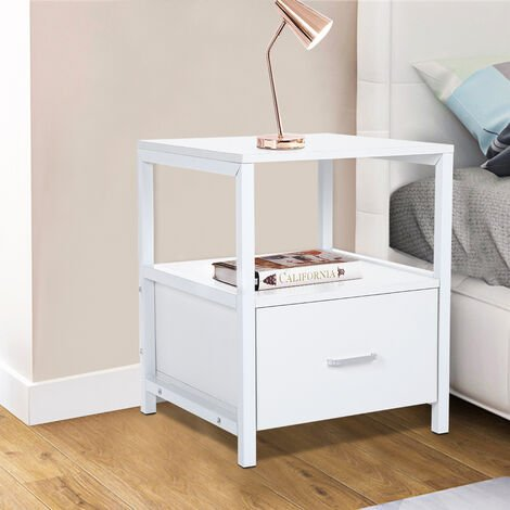 Wood White Bedside Table With Drawer