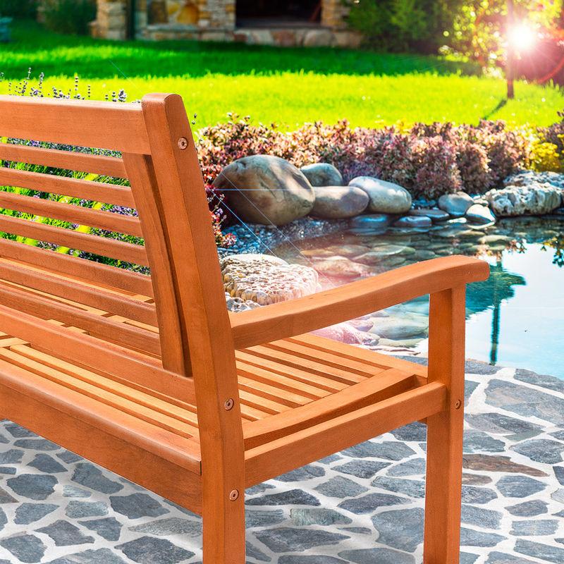 Remarkable Wooden 2 Seater Garden Bench Deuba Fsc Certified Eucalyptus Wood Garden Patio Lawn Terrace 48 In 120 Cm Ibusinesslaw Wood Chair Design Ideas Ibusinesslaworg