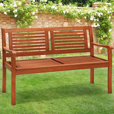 Fabulous Wooden 2 Seater Garden Bench Deuba Fsc Certified Eucalyptus Wood Garden Patio Lawn Terrace 48 In 120 Cm Ibusinesslaw Wood Chair Design Ideas Ibusinesslaworg