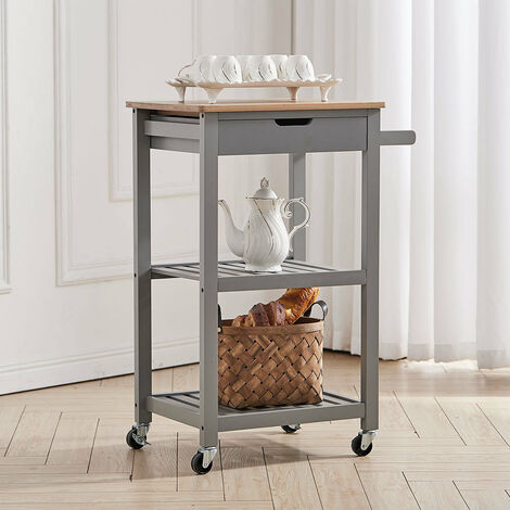 Wooden 3 Tier Trolley Cart Storage Rack Rolling Wheeled,Grey