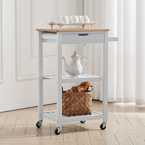 Wooden 3 Tier Trolley Cart Storage Rack Rolling Wheeled,White