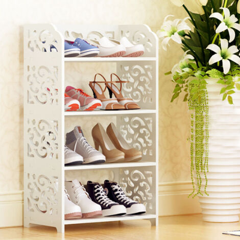 Wooden 4 Tiers Shoe Rack Storage Unit Display Shelf Stand Holder Organiser