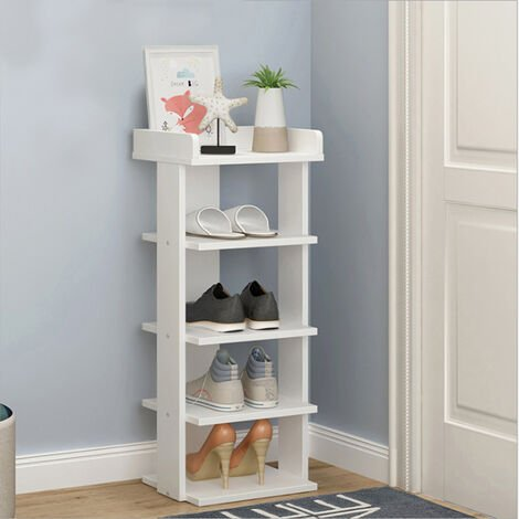 Wooden 5 Tier Shoe Rack Storage Shelf Slim Cabinet Organiser Footwear Shoes