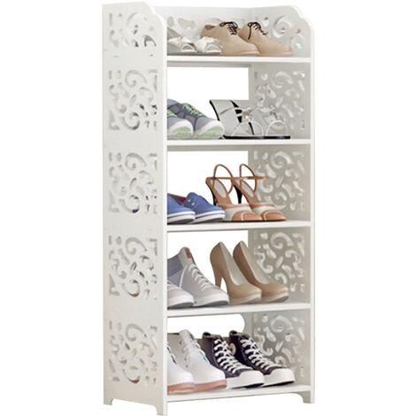 Wooden 5 Tiers Shoe Rack Storage Shelf Display Stand Organiser Unit White