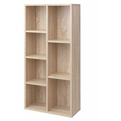 Wooden 7-Grid Bookcase, File Organiser and Floor Standing Book Shelf Rack, TV Stand, Display Storage Shelf, 50 x 24 x 106cm, Oak/White
