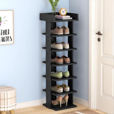 Wooden 7 Tier Shoe Rack Storage Shelf Slim Cabinet Organiser Footwear Shoes