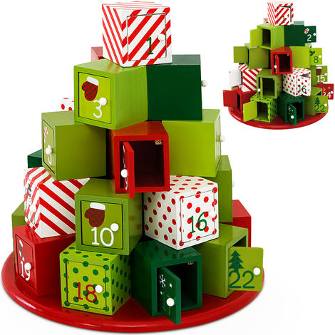 Wooden Advent Calendar Round Christmas Reusable