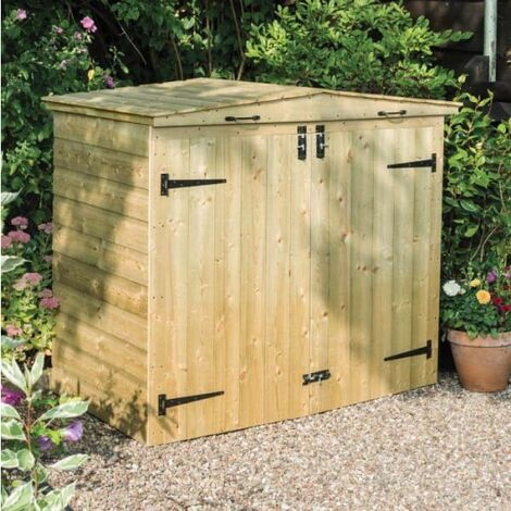 Wooden Apex Double Bin Store
