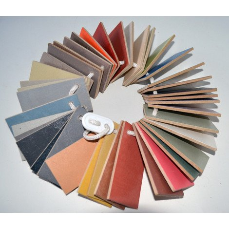 WOODEN ARCASCREED COLOUR CHART - Arcascreed beton cire applied on wood 40 colours available | Wood - 8cm x 5cm plate