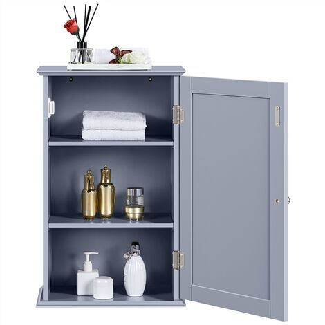 Wooden Bathroom Wall Cabinet 1 Door Kitchen Hanging Mounted Storage Cupboard with Multiple Tiers Shelf
