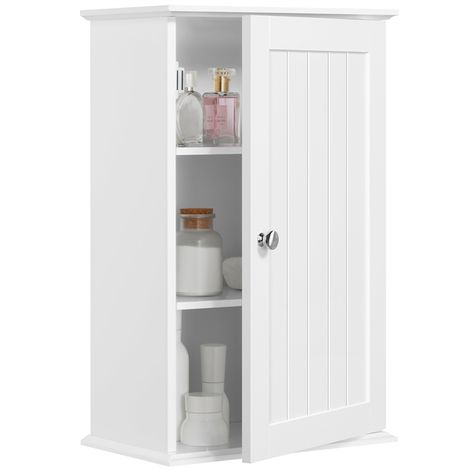 Wooden Bathroom Wall Cabinet 1 Door Kitchen Hanging Mounted Storage Cupboard with Multiple Tiers Shelf White