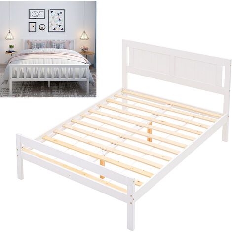 """main image of """"White Wooden Bed Frame Pine Wood Bedstead"""""""