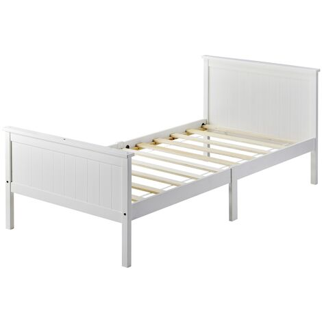 Wooden Bed Frame with Headboard and Footboard, Pine Wood Bed for Kids Bedroom, Ivory