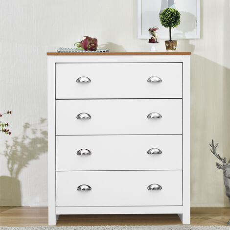 Wooden Bedside 4 Drawers Organizer Storage Cabinet Home Furniture White+Beech