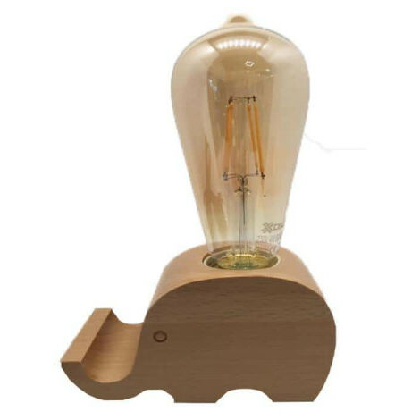 Wooden bedside lamp Elephant shape - 4W - E27