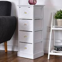 Wooden Bedside Table Nightstand Cabinet Storage Stand Bedroom W/4 Drawer Crystal