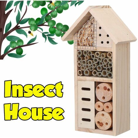 Wooden Bee Insect Nest House Guarding Insect Ladybug Hotel Shelter Garden Box