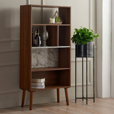 Wooden Bookcase Bookshelf 4 Tier Faux Marble Walnut Kingston Versanora VNF-00078