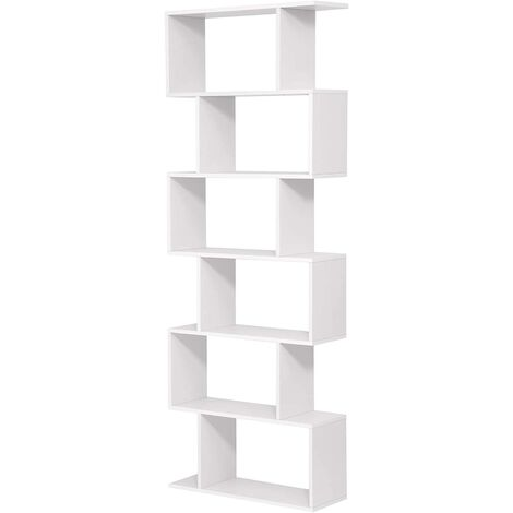 Wooden Bookcase, Cube Display Shelf and Room Divider, Freestanding Decorative Contemporary 6 Tier Storage Shelving Bookshelf Unit, White, LBC61WT - White