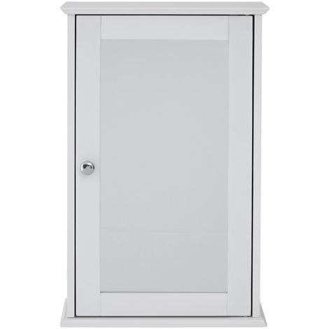 Wooden Cabinet Mirrored Front In White Finish With Stylish Knob