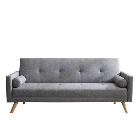 Wooden : Canapé scandinave convertible 3 places gris