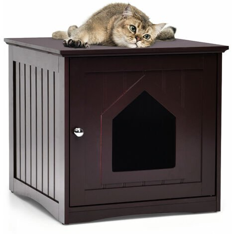 """main image of """"Wooden Cat House Indoor Pet Crate Litter Box Enclosure Side Table Nightstand"""""""