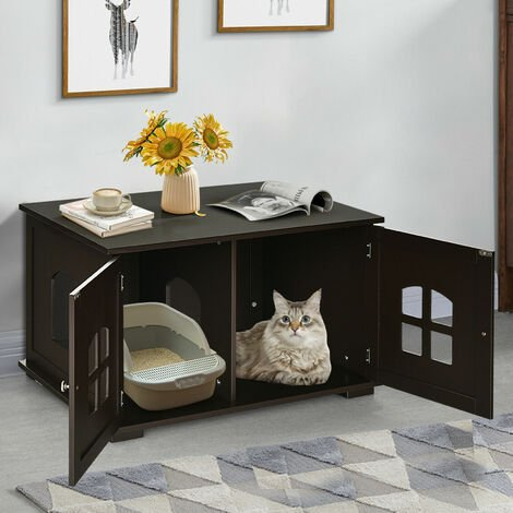 "main image of ""Wooden Cat Litter Box Enclosure Kitty Washroom Toilet Storage Cabinet W/ Window"""