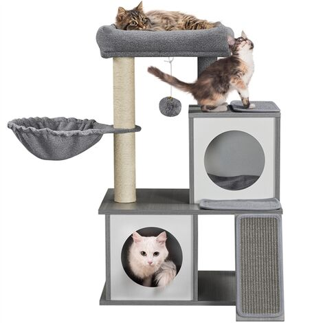 """main image of """"Wooden Cat Tree Wood Play Tower Climbing Frame Activity Centre Tree House Furniture Sisal Scratching Post Condo Ladder Removable Mat for Indoor Cats, Light Grey"""""""