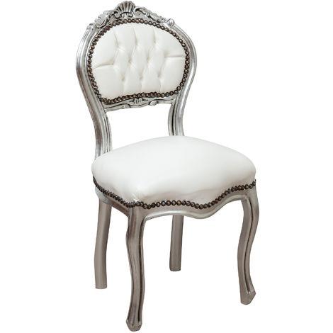Wooden chair for dining table restaurant pizzeria kitchen farmhouses arte povera antique silver L45xPR42xH90 Cm