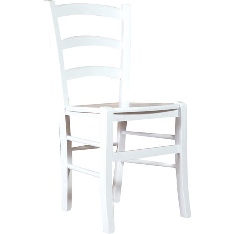 Wooden chair for dining table restaurant pizzeria kitchen farmhouses poor art White Lacquered L45xPR45xH88 cm Made In Italy