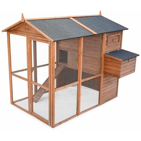 Wooden chicken coop - COTENTINE, backyard hen cage for 6 to 8 chickens, indoor and outdoor space