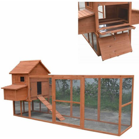 Wooden chicken coop hutch 310x150x150 cm