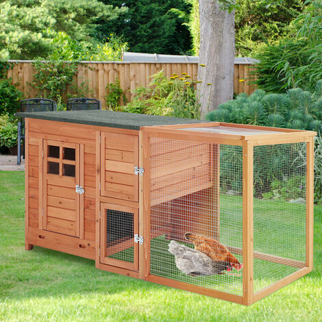 Wooden Chicken Hen Coop Poultry House with Nest Box, Brown