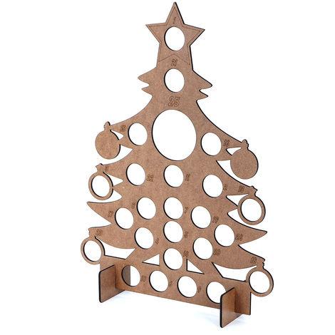 Wooden Christmas Advent Calendar For 24 Round Chocolate Decor Holder 40x30cm