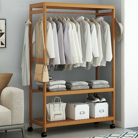 Wooden Clothes Rail Hanging Garment Shoe Rack Rolling Stand Portable Practical
