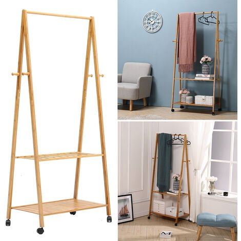 Wooden Clothes Rail Rack Garment Hanging Shoe Storage Shelf