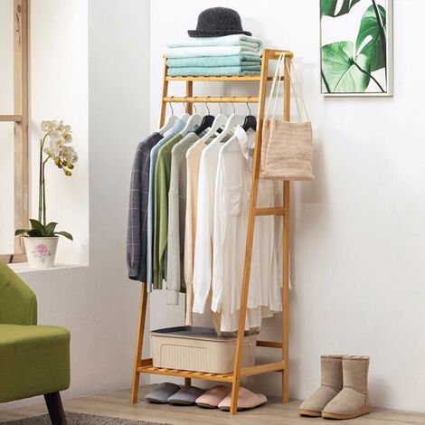 Wooden Clothes Rail Rack Shoe Rack Storage Shelf