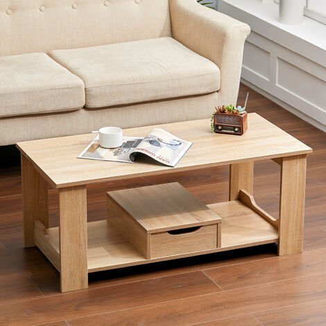 """main image of """"Wooden Coffee Table 1 Drawer Storage Home Office Bedroom Living Room Table"""""""