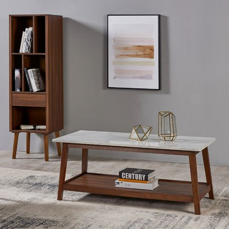 """main image of """"Wooden Coffee Table Faux Marble Finish Modern Design Versanora TV Unit VNF-00061"""""""