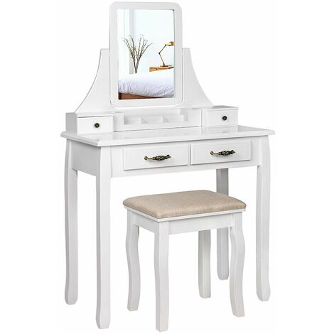 Wooden Coiffeuse with Mirror and Stool with 2 Large Drawers and Rails, 80 x 137 x 40 cm, White RDT012WT